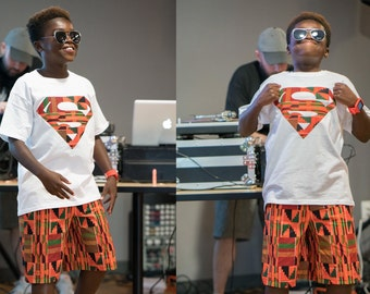 Boys African Kente Superman Outfit