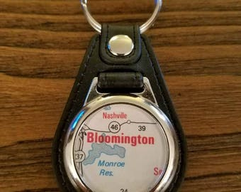Bloomington Indiana Keychain, Key Fob, Monroe Reservoir, Map Keychain