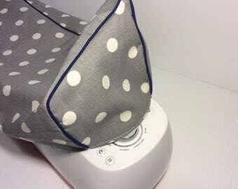 Cricut Maker and Explore/ Air/ Air 2/ One Custom Handmade Dust Cover Gray Polkadot with (Choose color) Piping