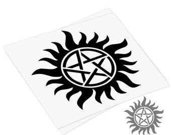 DECAL Supernatural Anti Possession, Supernatural inspired Vinyl Decal, Car Window Decal, Laptop, Macbook Sticker