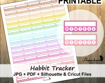 50% SALE, Habit Tracker Printable Planner Stickers, Erin Condren Planner Stickers, Habit Tracker Stickers, Printable Stickers - Cut Files