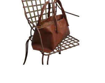 Big leather bag Shopper Einkaufsshopper Cognac vintage-style handmade