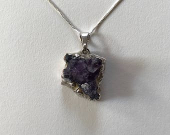Vintage Amethyst Purple Quartz Geode 925 Sterling Silver Pendant Necklace