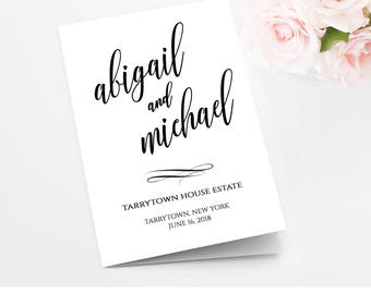 Wedding Program Template, Printable Wedding Ceremony, Order of Service, INSTANT DOWNLOAD, Editable, Folded Program, Digital  #020-114WP