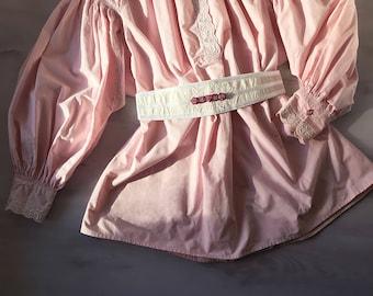 Light pink cotton rustic blouse vintage