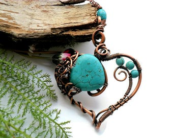Heart necklace Wire wrapped pendant Turquoise and Copper Wire wrapped jewelry Rustic Copper necklace Wire jewelry Gift for her Love gift