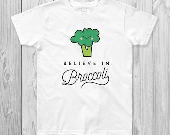 Believe in Broccoli Kids T-Shirt, Vegan, Vegetarian, Shirt, Plant-Based Clothing, Foodie, Healthy, Vegetables, Cute, Kawaii, Funny