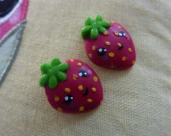 Strawberry fruit tagada red polymer clay Stud studs earrings