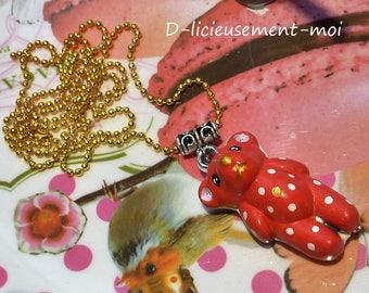 Long necklace Choker brass candy ball Teddy bear kawaii red polka dot metal and porcelain hand painted