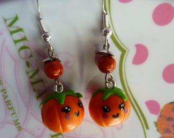Earrings in sterling silver 925 kawaii polymer clay fimo and miracle bead face Pumpkin orange