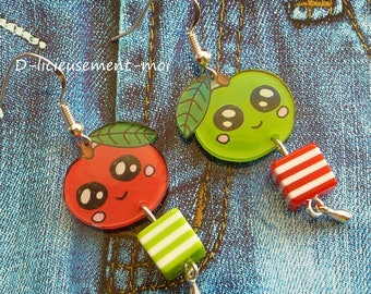 Kawaii crazy crazy plastic handpainted cube bead earrings silver sterling 925 Apple green and red striped api Pippin