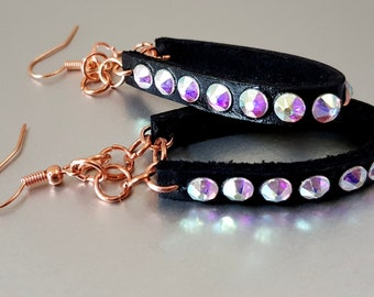 Leather Hoop, Swarovski and Rose Gold Drop Earrings - Choose Colour!