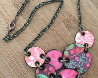 OOAK Pink Green Mixed Floral Pattern Wood Bib Necklace