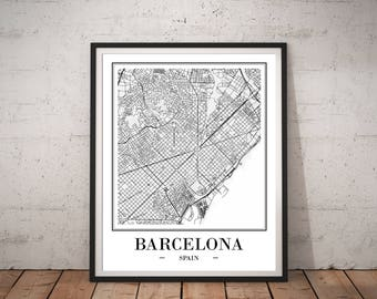 Barcelona Map Print DIGITAL DOWNLOAD Barcelona Print Barcelona City Map Of Barcelona Spain Map Gift Map Wall Art Printable Map Poster