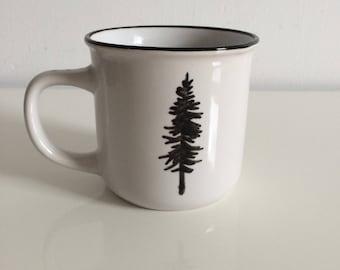 MUG - Hand Drawn Ceramic Camp Mug - Pine Tree Unique