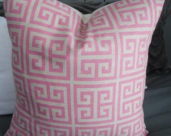 Towers,Orchid Pink.Oatmeal.Pillows.Throw Pillows.Toss Pillows.Slipcovers.Spring Decor.Summer Decor Nursery Decor.Greek Key