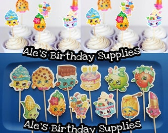 24 Pc Shopkins Cupcake Toppers Double Sided Birthday Party Supplies
