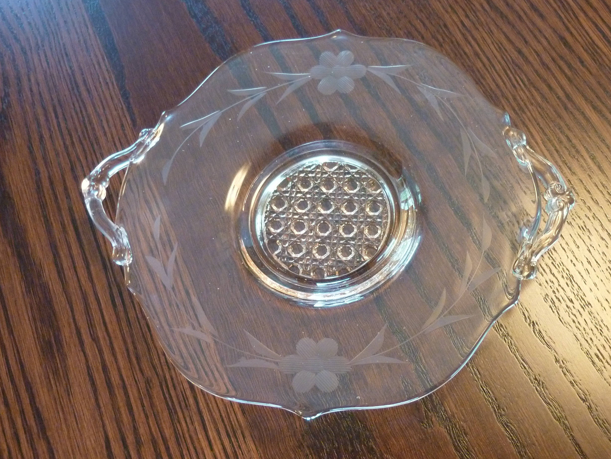 Vintage Pink Depression Glass Etched Floral Pattern