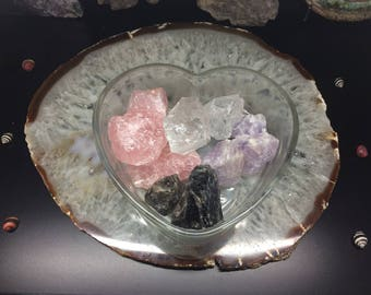 Raw Amethyst, Rose Quartz, Smoky Quartz, and Clear Quartz Crystal Set - Love & Compassion Collection