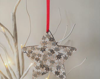 Set of 3 Wood Star Decorations, Christmas Decorations, Star Tree Ornaments, Wooden Stars, Wooden Christmas Decoration