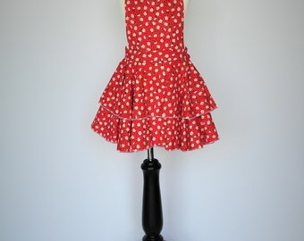 Red Ruffled childrens Apron with pindots and daises // girls apron // childrens apron // kids apron // childs apron // red apron