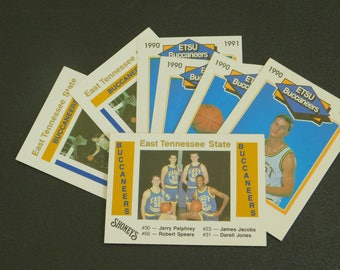 7 Vintage Basketball Cards from ETSU 1989, 1990, 1991, East Tennessee State University, ETSU Buccaneers, Sports Trading Cards, Old Cards