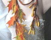 Felted necklace,Felt leaves,Felt leaves lariat,Felt belt,scarflette with leaves,unique art to wear,felted leaf scarf for fall ,Original Belt