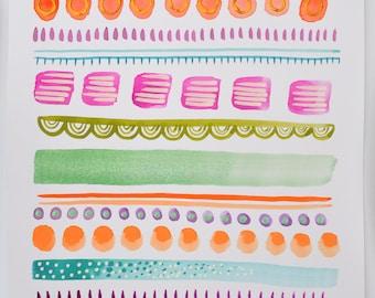 Aztec watercolour painting - Original watercolour - Abstract art - pattern artwork - Aztec print - Minimalist - Scandi decor - Pink - Green