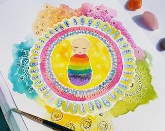 Custom painting - new baby gift - rainbow baby - original artwork - art print - watercolour mandala - family - personalised illustration