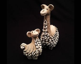 Vintage Artesania Rinconada Uruguay Pottery Figurines, Mother Llama #39 & Baby Llama #68, Retired