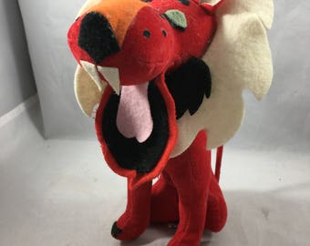 Vintage Midcentury Stuffed Animal Red and White Lion Dream Pet Japan
