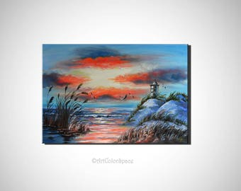 Lighthouse painting Seascape oil painting on canvas Seabirds painting Handmade Christmas paintings for living room Gift idea