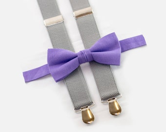 Wedding Set, Purple Bow Tie & Light Gray Suspenders, Mens Suspenders Bow Tie