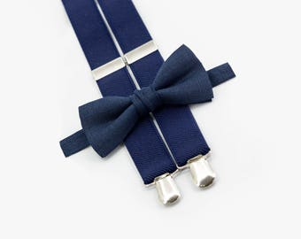 Navy Blue Bow Tie & Navy Blue Suspenders Wedding Necktie Boys Bow Ties Suspenders