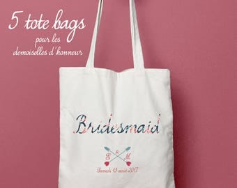 5 tote bag personalized bridesmaid / cookies - romantic, tote bag, bachelorette party