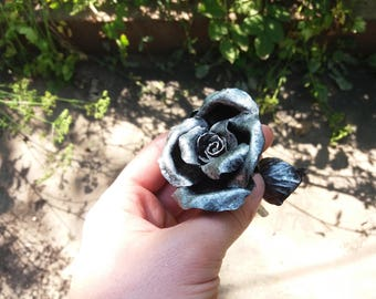 Anniversary gift steel, steel anniversary, 6th wedding anniversary , Metal rose, Forged rose, wrought iron rose, iron gift, gift for her