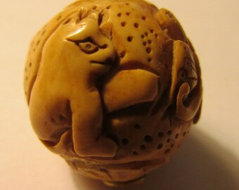 Carved Bone Ball Bead of Two Cats and Butterfly, 1""