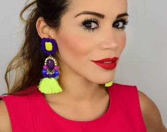 Colorful Earrings, Handmade Earrings, Statement earrings, Tassel Earrings, Multicolor Earrings, studded earrings ,Rhinestone Earrings,Fringe