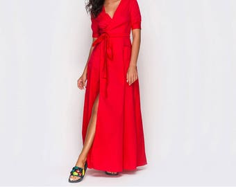 Red maxi dress Party red dress Maxi wrap dress Long red dress Women maxi cotton dress with sleeves