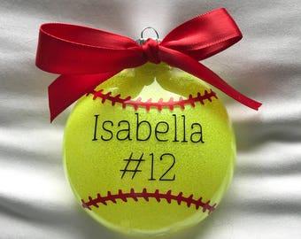 Personalized Softball Ornament // Softball Player Ornament // Team Ornament // Shatterproof Christmas Ornament // Wonderfully Made Creations