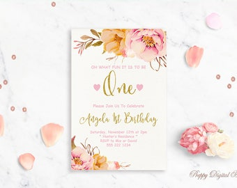 Baby Girl First Birthday Invitation Printable Blush Pink Peach Gold Foil Floral One Year Birthday Bash Invite Boho Chic Watercolor Invite