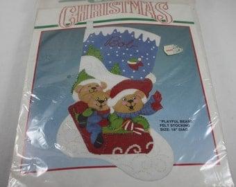 "Christmas Stocking Kit Playful Bears Bucilla 82721 Felt Applique 18"" Out Of Print 1990's"