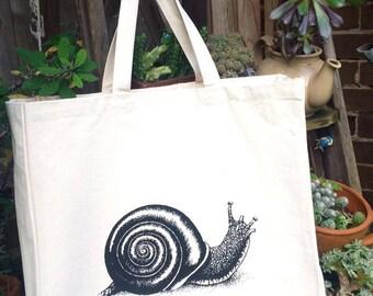 Hand Screen Printed Snail Design Cotton Canvas Tote Bag Shoulder Bag Beach Bag Grocery Bag Natural Reusable