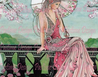Vintage 1920's Lady in pink,Instant download,Vintage fashion,Vintage Ephemera,Printable image,vintage download,art deco style image, print