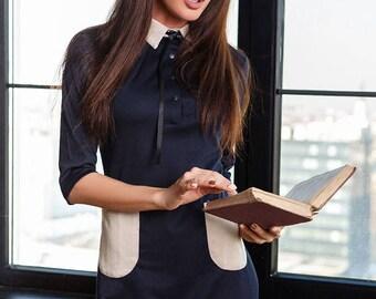 Women Office dress Dark Blue Dress casual wear Midi gown Short sleeve dress Womens dress Flat cut Knee gown long sleeve Jersey dress Office