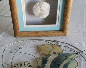 vintage framed 3D white sea coral mushroom nautical wall art in shadow box & capiz shell tropical fish in brass frame - suncatcher ocean