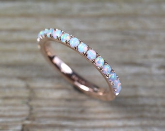 Opal Eternity Band, Rose Gold Opal Ring, Eternity Wedding Band, Thin Opal Wedding Ring, Opal Wedding Band, Opal Stacking Ring, Promise Ring