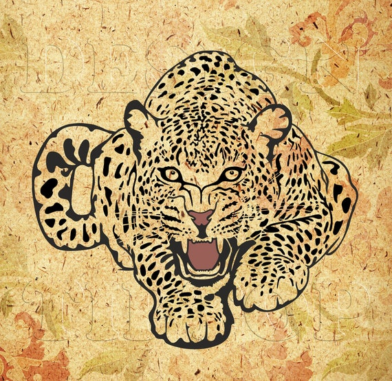 Download leopard SVG wild animal svg leopard tattoo embroidery