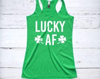 St Patricks Day Shirt, Lucky AF Tank Top, St. Patty's Shirt, Funny St Patricks Day Shirt, Irish Shirt, Lucky Shirt, Shamrock