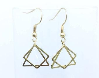 Rose Gold Mini Geometric Drop Earrings / Geometrique Minimalist Boucles d'Oreilles Dorées Petites / Gift Idea / For Her / For Minimalist